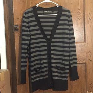 Grey and black striped cardigan
